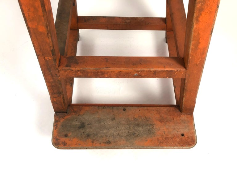 Orange Painted Wood and Metal Industrial Factory Stool, circa 1920s For Sale 8