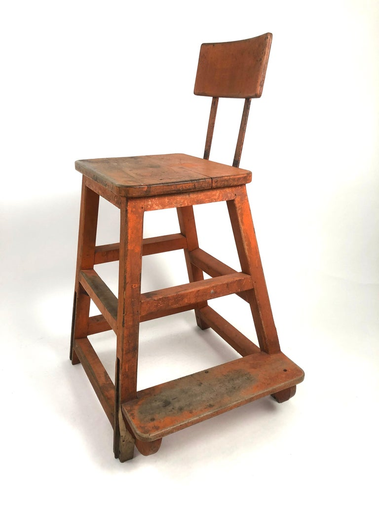 Orange Painted Wood and Metal Industrial Factory Stool, circa 1920s For Sale 9