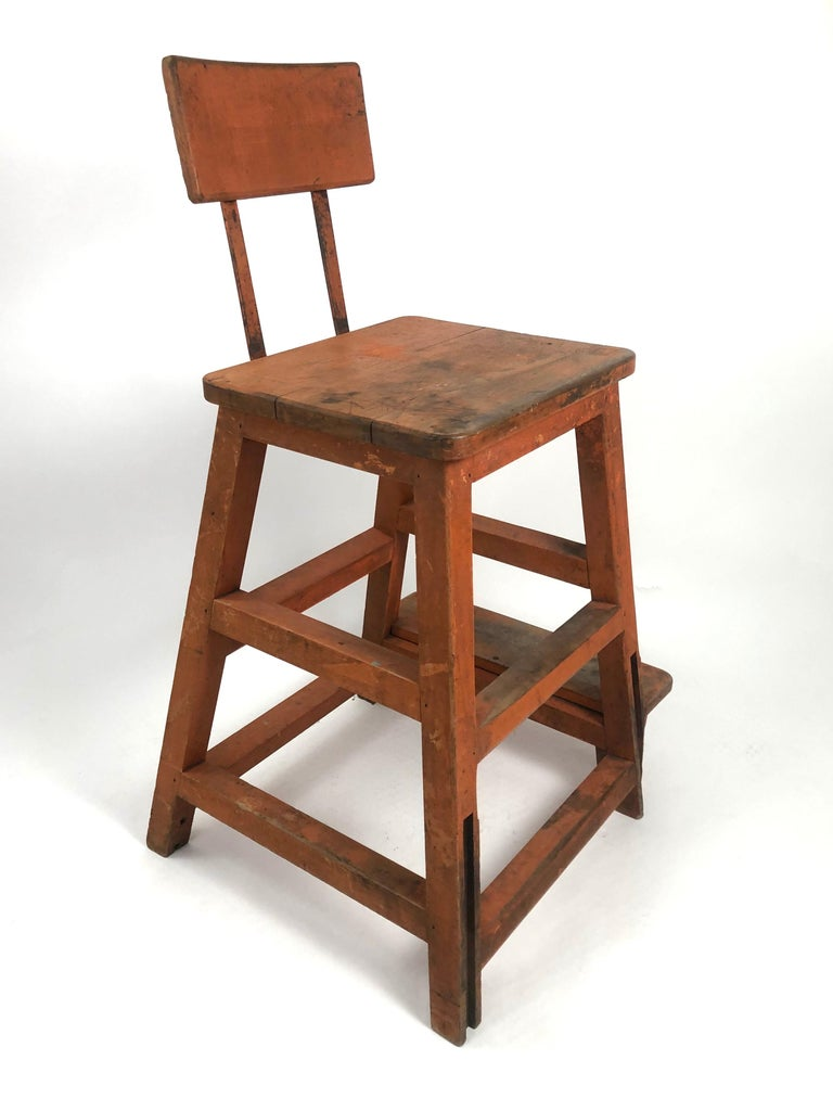 American Orange Painted Wood and Metal Industrial Factory Stool, circa 1920s For Sale