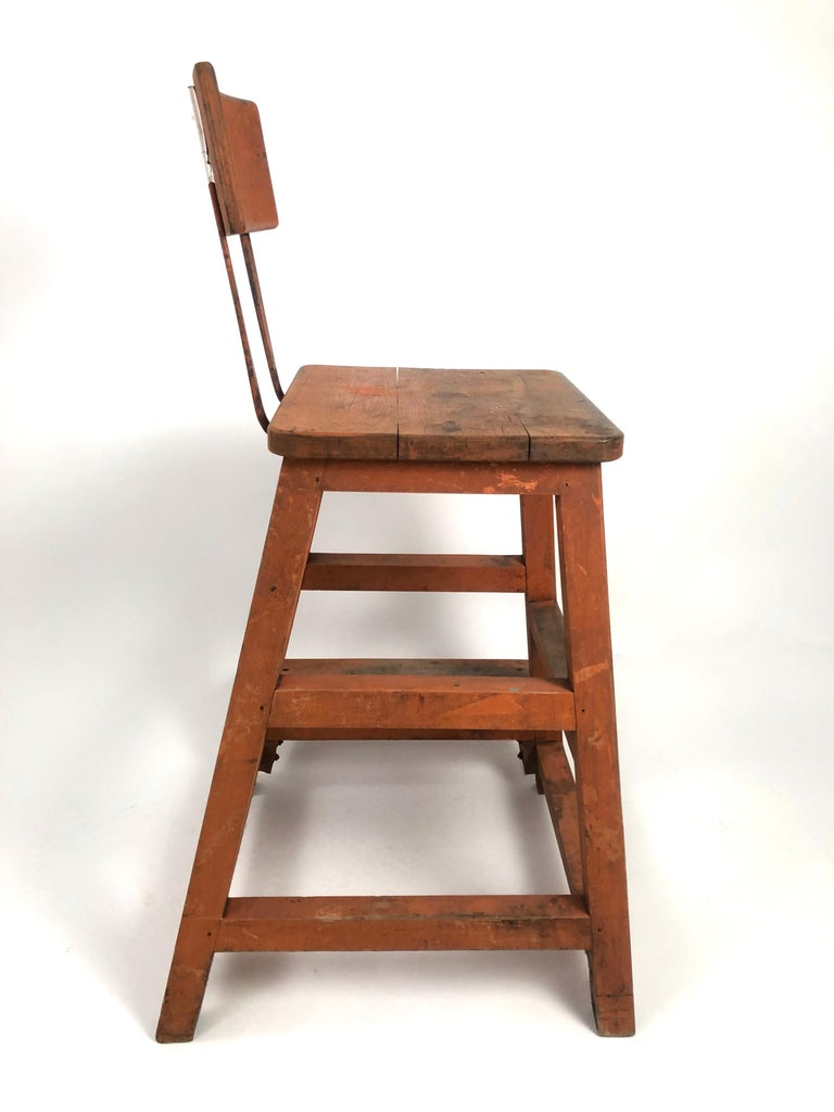 Orange Painted Wood and Metal Industrial Factory Stool, circa 1920s In Good Condition For Sale In Essex, MA