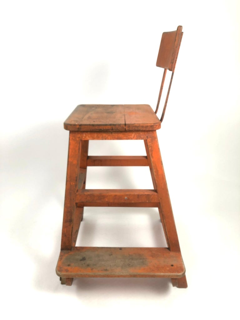 Early 20th Century Orange Painted Wood and Metal Industrial Factory Stool, circa 1920s For Sale