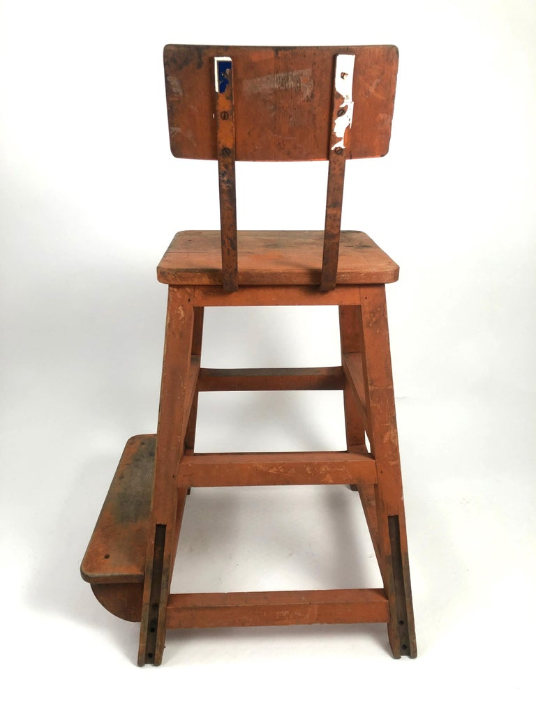 Iron Orange Painted Wood and Metal Industrial Factory Stool, circa 1920s For Sale