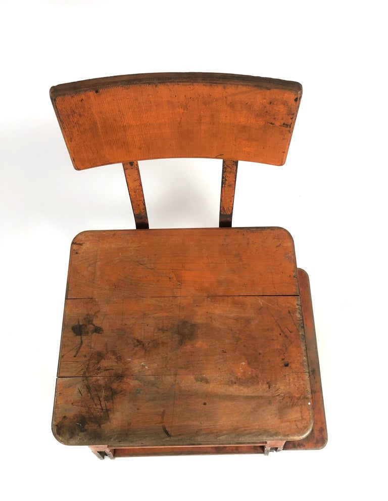 Orange Painted Wood and Metal Industrial Factory Stool, circa 1920s For Sale 1