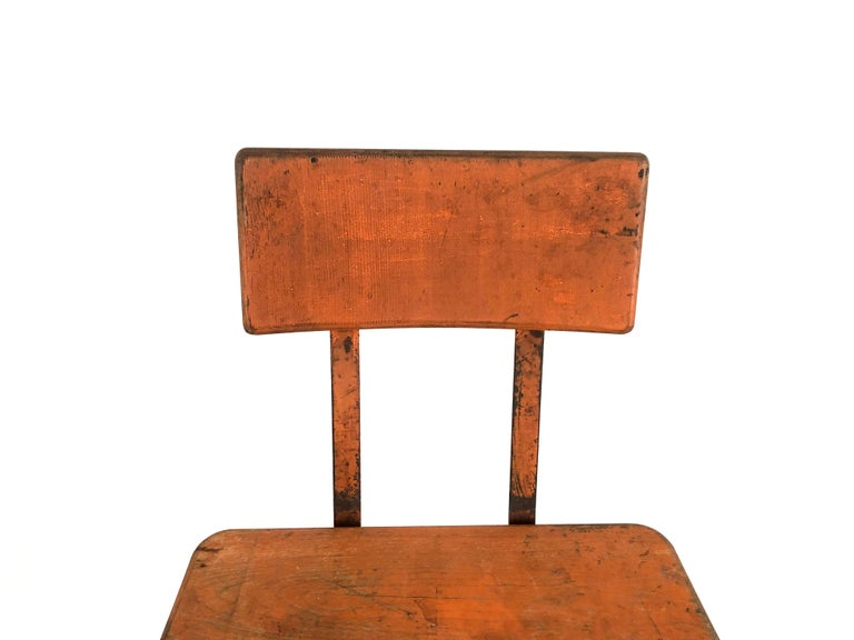 Orange Painted Wood and Metal Industrial Factory Stool, circa 1920s For Sale 3