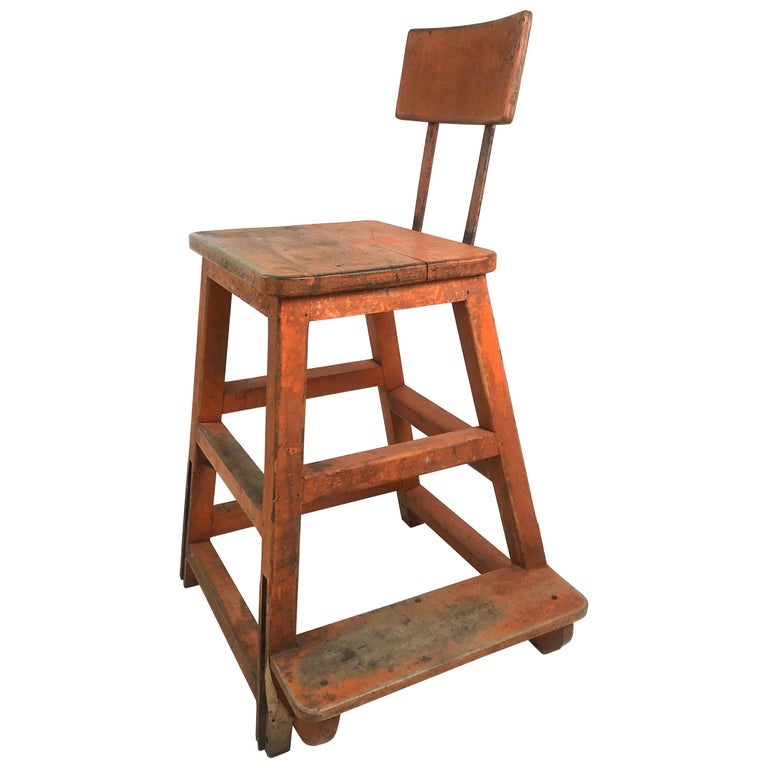 Orange Painted Wood and Metal Industrial Factory Stool, circa 1920s For Sale