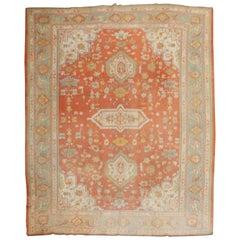 Orange Peel Antique Turkish Oushak Carpet, 20th Century