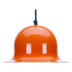 Orange Pendant 1960s Scandinavian Industrial Hanging Lamp