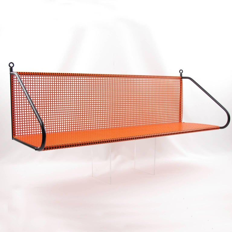 Manner of Mathieu Mategot Orange Perforated Metal Wall Mounted Bookshelf  For Sale 1