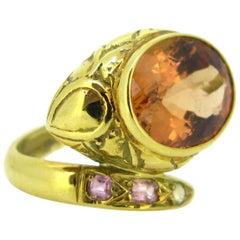 Orange Pinkish Topaze Fashion Snake Ring