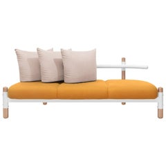 Orange PK15 Three-Seat Sofa, Carbon Steel Structure & Wood Legs by Paulo Kobylka