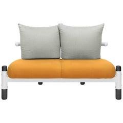 Orange PK15 Two-Seat Sofa, Steel Structure & Ebonized Wood Legs by Paulo Kobylka