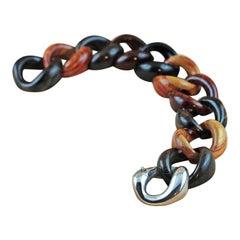 Orange Purple Black Brown Wood 925 Silver Link Bracelet
