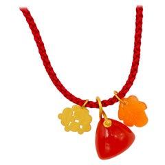 Orange Red Cornaline 22 Karat Gold Pendant Necklace