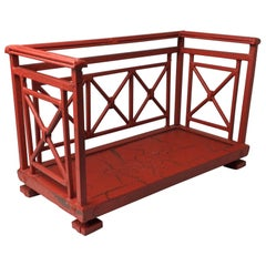 Orange Red Distressed Painted Metal Tabletop Book Stand Rack