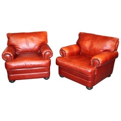 Orange-Red Pair of Custom Made All Genuine Leather Club Chairs