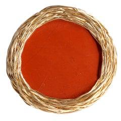Orange Red Round Jaspis Cocktail Statement Ring by Sheila Westera in Stock