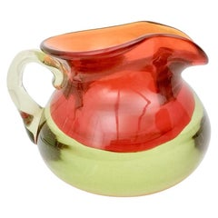 Orange Red Sommerso Pitcher Ascribable to Flavio Poli for Seguso, Italy 1950s