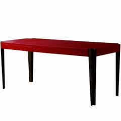 Orange Red Top Leather Writing ''Ray Desk'' Designed by Philippe Hurel