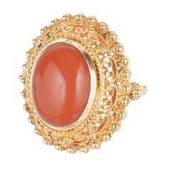 Orange Red Untreated Oval Coral Gold Cocktail Ring