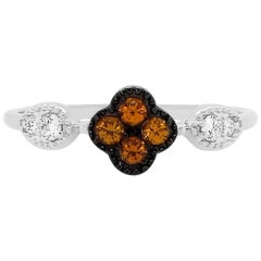 Orange Sapphire 14 Karat White Gold Diamond Fashion Clover Ring