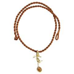 Orange Sapphire 18K Gold Minimalist 'She' Pendant Necklace, AB Jewelry NYC
