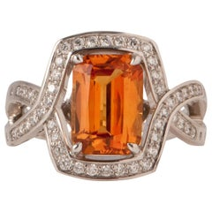 Orange Sapphire 3.84 Carat with Diamond in White Gold Ring