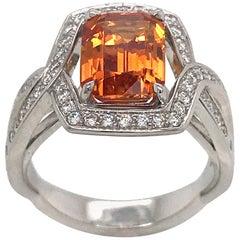 Orange Sapphire 3.84 Carat with Diamond in White Gold Ring