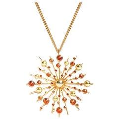Orange Sapphire 9 Karat Yellow Gold Soleil Pendant Chain Necklace Natalie Barney