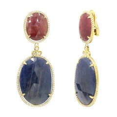 Orange Sapphire and Blue Sapphire Diamond 18 Karat Gold Earrings