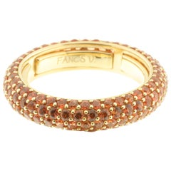 Orange Sapphire and Yellow Gold Eternity Ring, Multi-Size
