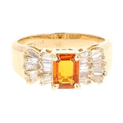 Orange Sapphire Baguette Diamond 14 Karat Yellow Gold Ring
