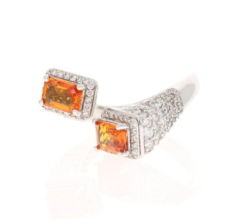 Modern Orange Sapphire Diamond 14 Karat White Gold Cocktail Ring For Sale