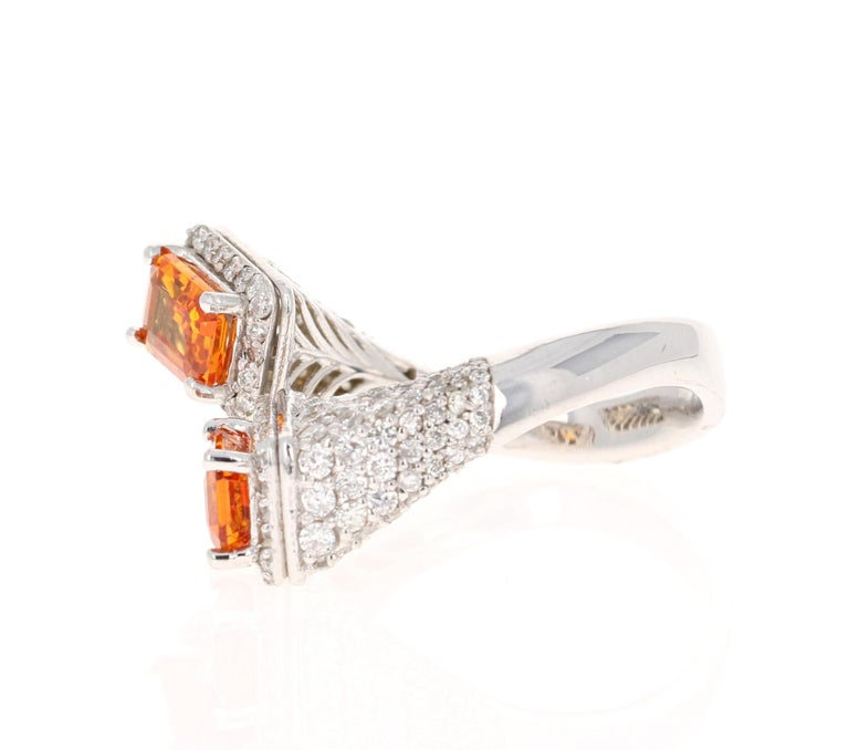 Emerald Cut Orange Sapphire Diamond 14 Karat White Gold Cocktail Ring For Sale
