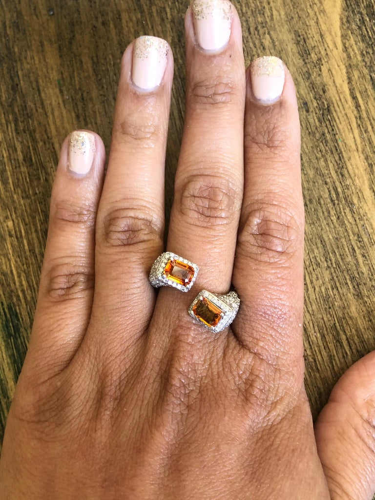 Women's Orange Sapphire Diamond 14 Karat White Gold Cocktail Ring For Sale