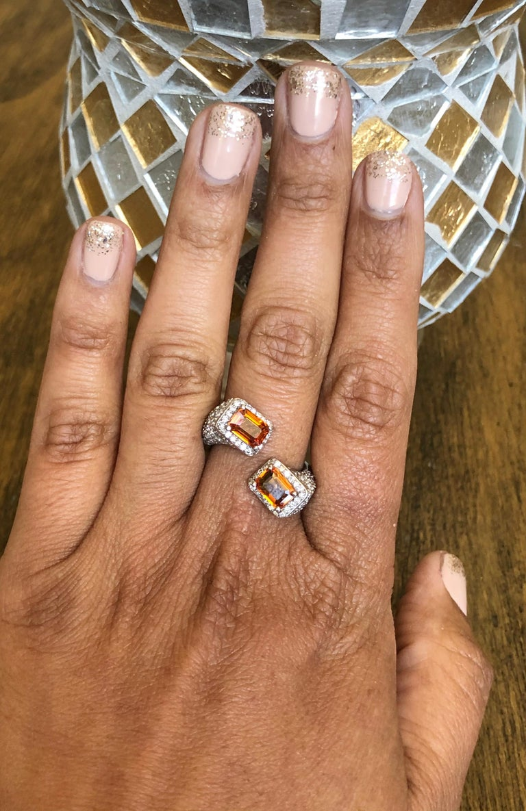 Orange Sapphire Diamond 14 Karat White Gold Cocktail Ring For Sale 1