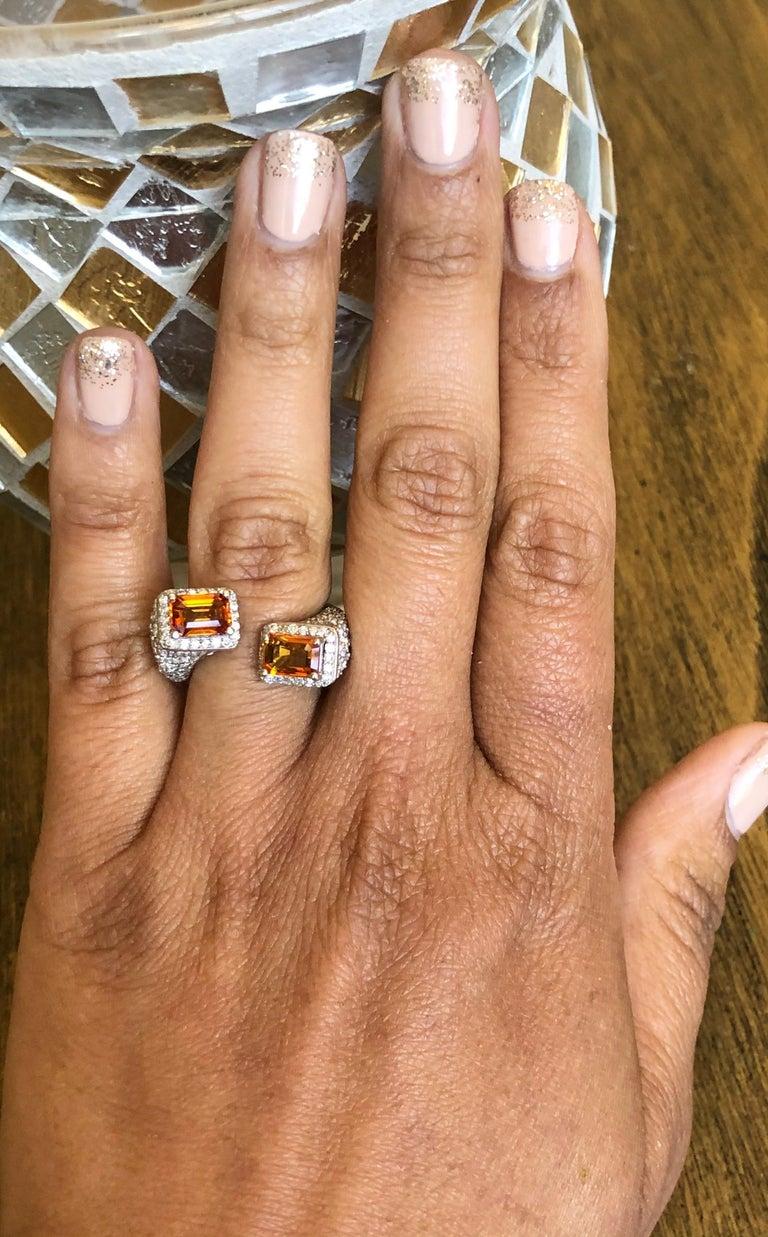 Orange Sapphire Diamond 14 Karat White Gold Cocktail Ring For Sale 2