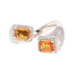 Orange Sapphire Diamond 14 Karat White Gold Cocktail Ring