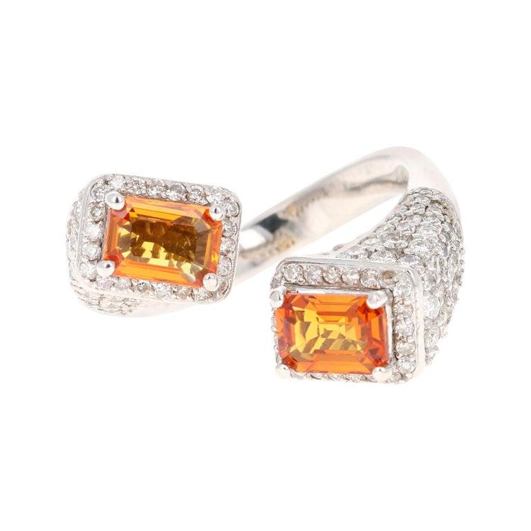 Orange Sapphire Diamond 14 Karat White Gold Cocktail Ring For Sale