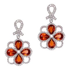 Orange Sapphire Diamond Gold Drop Earrings