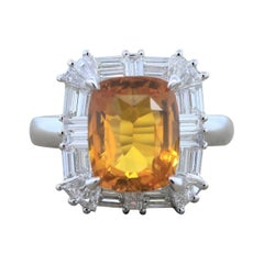 Orange Sapphire Diamond Gold Ring
