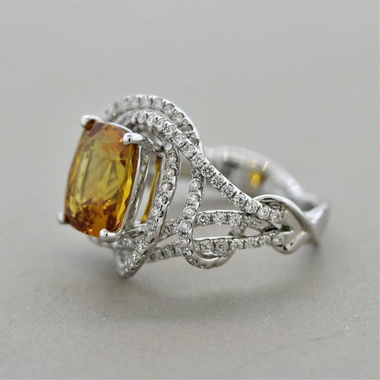 Cushion Cut Orange Sapphire Diamond Gold Ring, GIA Certified For Sale