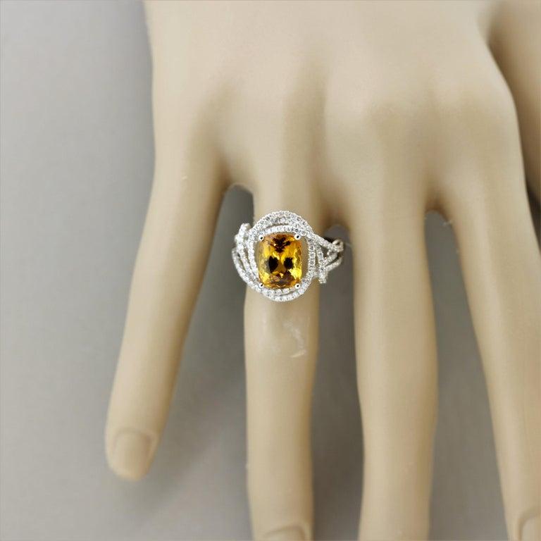 Orange Sapphire Diamond Gold Ring, GIA Certified For Sale 2