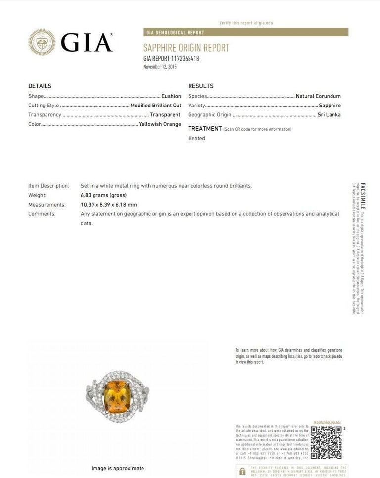 Orange Sapphire Diamond Gold Ring, GIA Certified For Sale 3