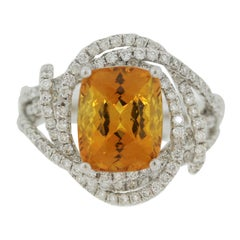 Orange Sapphire Diamond Gold Ring, GIA Certified