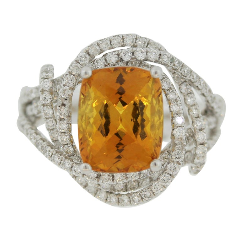 Orange Sapphire Diamond Gold Ring, GIA Certified For Sale