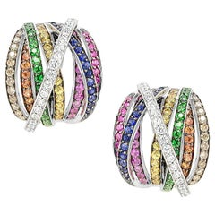 Orange Sapphire Diamond Ruby White Gold 18 Karat Rainbow Firework Earrings