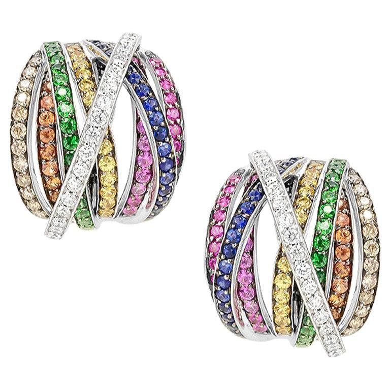 Orange Sapphire Diamond Ruby White Gold 18 Karat Rainbow Firework Earrings For Sale