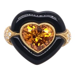 Orange Sapphire Heart Cocktail Ring with Onyx and Diamonds in 18 Karat Gold