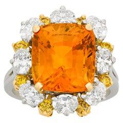 Orange Sapphire Ring by Oscar Heyman, 4.90 Carat