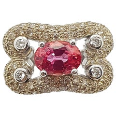 Orange Sapphire with Brown Diamond and Diamond Ring Set in 18 Karat White Gold